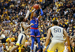 Jan 15, 2018; Morgantown, WV, USA; Kansas Jayhawks guard Lagerald Vick (2) shoots a jumper during the first half against the West Virginia Mountaineers at WVU Coliseum. Mandatory Credit: Ben Queen-USA TODAY Sports