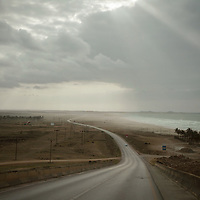 A view of the Arabian sea from the coastal road in the Dhofar Governorate.
