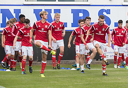 RHYL, WALES - Saturday, September 2, 2017: Wales Team warm up before the Under-19 international friendly match between Wales and Iceland at Belle Vue. (Pic by Gavin Trafford/Propaganda)
