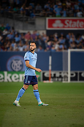 August 22, 2018 - Bronx, New York, United States - New York City defender MAXIME CHANOT (4) during a regular season match at Yankee Stadium in Bronx, NY.  New York City FC tie the New York Red Bulls 1 to 1 (Credit Image: © Mark Smith via ZUMA Wire)