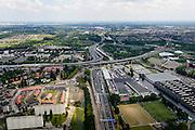 Nederland, Zuid-Holland, Rotterdam, 10-06-2015; stadsdeel Overschie, Kleinpolder met Rijksweg A20 gezien naar knooppunt Kleinpolderplein (kruising met A13). Ruit van Rotterdam.<br /> Northern part of Rotterdam with ringroad.<br /> luchtfoto (toeslag op standard tarieven);<br /> aerial photo (additional fee required);<br /> copyright foto/photo Siebe Swart