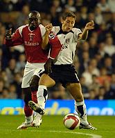 Photo: Daniel Hambury.<br />Fulham v Charlton Athletic. The Barclays Premiership. 16/10/2006.<br />Fulham's Michael Brown and Charlton's Jimmy Floyd Hasselbaink battle.