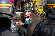 People without resident papers, sans papiers. Thousands of people marched on Saturday across France to demand the regularization of undocumented migrants. The call to demonstrate came from several collectives and the Marche des solidarites. Pere Lachaise, Paris, June 20, 2020. Photography by Nigel Dickinson / Hans Lucas.<br /> Sans papiers. Des milliers de personnes ont defile, samedi, dans toute la France pour reclamer la regularisation des sans-papiers. L appel a manifester emanait de plusieurs collectifs et de la Marche des solidarites. Pere Lachaise, Paris, 20 juin 2020. Photographie par Nigel Dickinson / Hans Lucas.
