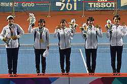 PALEMBANG, Sept. 1, 2018  Team Japan, gold medalists, attend the awarding ceremony for the soft tennis women's team event at the 18th Asian Games in Palembang, Indonesia on Sept. 1, 2018. (Credit Image: © Veri Sanovri/Xinhua via ZUMA Wire)