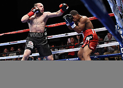May 5, 2018 - Mashantucket, CT, U.S. - MASHANTUCKET, CT - MAY 05: Mykquan Williams  (red tape)  battles Orlando Felix  (blue tape) during theirWBC USNBC Silver Lightweight Championship bout on May 5, 2018 at the Foxwoods Fox Theater in Mashantucket, Connecticut. Mykquan Williams defeated Orlando Felix via TKO of round 1. (Photo by Williams Paul/Icon Sportswire) (Credit Image: © Williams Paul/Icon SMI via ZUMA Press)