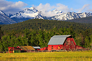 Como Peaks and Red Barn in Montana's Bitterroot Valley.