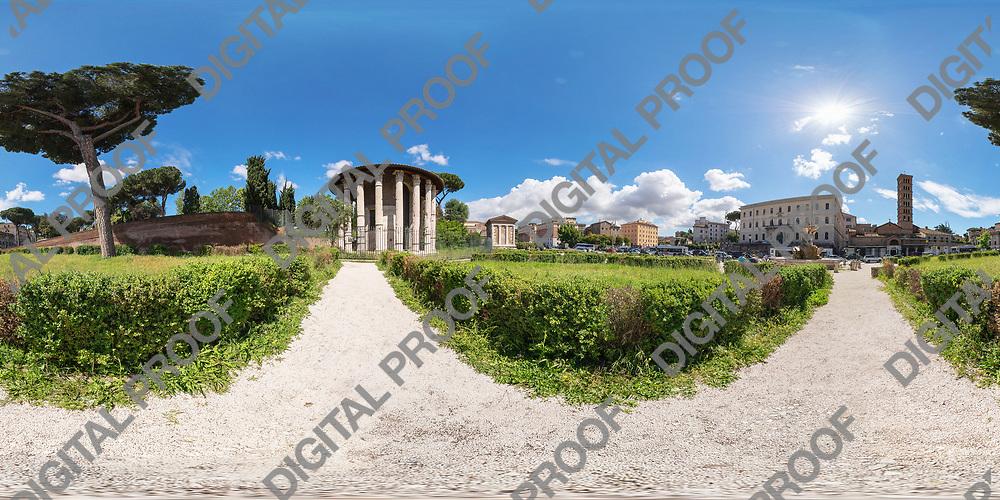 Equirectangular image of Temple of Hercules Victor (Tempio di Ercole Vincitore) in Piazza della Bocca della Verita 00118 Roma, Italy on sunny morning of spring.