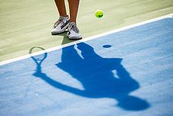 PORTOROZ, SLOVENIA - SEPTEMBER 16: A feature of the shadow, legs and ball during the 3rd Round of WTA 250 Zavarovalnica Sava Portoroz at SRC Marina, on September 15, 2021 in Portoroz / Portorose, Slovenia. Photo by Matic Klansek Velej / Sportida