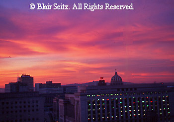 Harrisburg skyline, sunrise