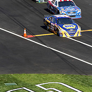 A painted number 3 in rememberance of Dale Earnhardt rests at the opening of pit road during the Daytona 500 at Daytona International Speedway on February 20, 2011 in Daytona Beach, Florida. (AP Photo/Alex Menendez)