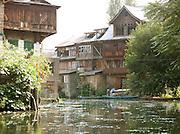 Houses built on Lake Dal, Srinigar, Kashmir, India