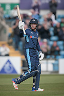 Jonny Bairstow (Yorkshire CCC) brings up his 150 and acknowledges the crowd during the Royal London 1 Day Cup match between Yorkshire County Cricket Club and Durham County Cricket Club at Headingley Stadium, Headingley, United Kingdom on 3 May 2017. Photo by Mark P Doherty.