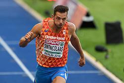 Eelco Sintnicolaas finisht na11,04s op de 100m meerkamp bij het EK atletiek in Berlijn op 7-8-2018