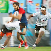 Jonathan Laugel is tackled by Samisoni Viriviri of Fiji in the  play for the USA Sevens leg of the 2015 HSBC Sevens World Series  at Sam Boyd Stadium in Las Vegas, Nevada. Friday February 13, 2015.<br /> <br /> Jack Megaw for USA Sevens<br /> <br /> COPYRIGHT © JACK MEGAW, 2015. <br /> <br /> www.jackmegaw.com