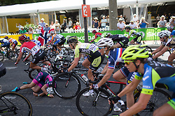 A late crash in the penultimate lap during the La Course, a 89 km road race in Paris on July 24, 2016 in France.