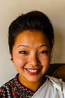 Woman wearing Nepalese traditional costume, Hotel Heritage, Bhaktapur, Nepal.