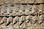 Close up of the sculpture of the twelve gods of the underworld from the 13th century BC Hittite religious rock carvings of Yazılıkaya Hittite rock sanctuary, chamber B,  Hattusa, Bogazale, Turkey. .<br /> <br /> If you prefer to buy from our ALAMY PHOTO LIBRARY  Collection visit : https://www.alamy.com/portfolio/paul-williams-funkystock/yazilikaya-hittite-sanctuary-hattusa.html<br /> <br /> Visit our ANCIENT WORLD PHOTO COLLECTIONS for more photos to download or buy as wall art prints https://funkystock.photoshelter.com/gallery-collection/Ancient-World-Art-Antiquities-Historic-Sites-Pictures-Images-of/C00006u26yqSkDOM