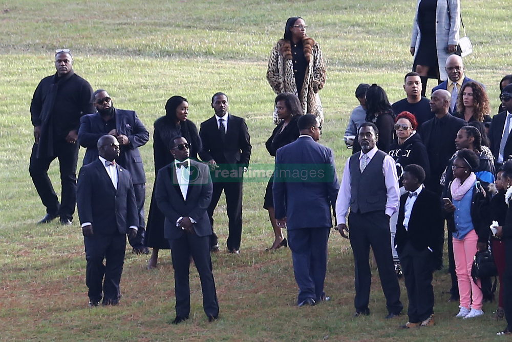 Music mogul Diddy joins Kim Porter's grandma at the memorial gardens where former girlfriend Kim Porter, the mother of three of his children, will be laid to rest. Diddy could also be seen having some time away from the crowds to be alone with Kim Porters tomb before bringing the crowds together for a firework display across the waters. Mourners arrived at Evergreen Memorial Park After the funeral service at Cascades Hills Church in the former model's hometown of Columbus, Georgia. Diddy overcame his grief to deliver a moving eulogy. Others who gave eulogies included Blige, Dallas Austin, Bishop Noel Jones and Porter's son, Usher, actor and singer Quincy Brown. Quincy broke down as he spoke and was joined at the mic by his father, Al B. Sure!, and Diddy. The service was packed with celebrities including best friend Kimora Lee Simmons, Missy Elliot, Lil Kim, Tichina Arnold, NeNe Leakes, Fat Joe, Kandi Burress, Winnie Harlow, Ryan Destiny, Stevie J and more. Porter died after suffering from a bout of pneumonia but her exact cause of death is unknown. She was just 47. Diddy, 49, and Porter were together, off and on, for 10 years, and although they were no longer a couple, they were still close, sharing three children: son Christian, 20, and twin daughters D'Lila Star and Jessie James, who turn 12 next month. They also raised 27-year-old Quincy Brown, Porter's son with singer and record producer Al B. Porter died at her Los Angeles home on Nov. 15. An autopsy was performed the next day but the results were deferred for further testing, which could take weeks. 24 Nov 2018 Pictured: P Diddy, Diddy, Sean Combs. Photo credit: MEGA TheMegaAgency.com +1 888 505 6342