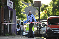 © Licensed to London News Pictures. 10/06/2021. London, UK. The scene In Streatham, South where a man was stabbed to death early this afternoon. Photo credit: Ben Cawthra/LNP