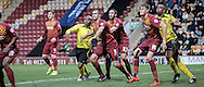 Barry Hayles (Chesham) starts his run as the corner comes in during the The FA Cup match between Bradford City and Chesham FC at the Coral Windows Stadium, Bradford, England on 6 December 2015. Photo by Mark P Doherty.