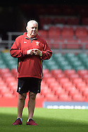 Wales head coach Warren Gatland looks on during the Wales rugby captains run training session at the Millennium Stadium in Cardiff ,South Wales on Friday 4th Sept  2015. The team are preparing for their next RWC warm up match against Italy tomorrow.  pic by Andrew Orchard, Andrew Orchard sports photography.