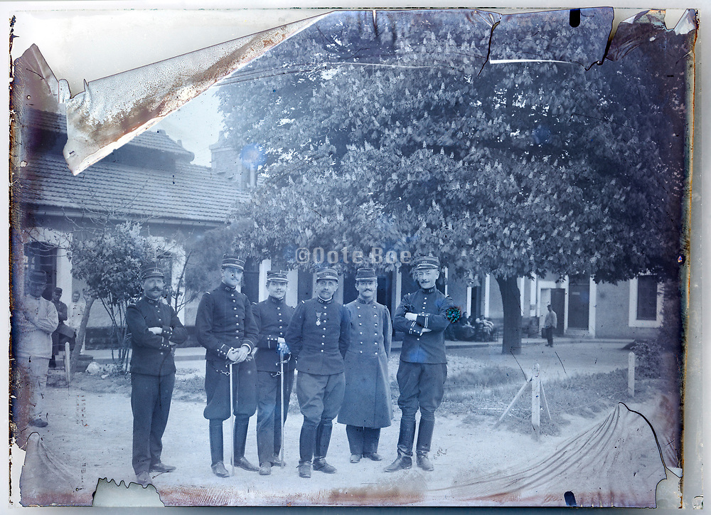 service man in uniform casual posing France 1900s deteriorating emulsion on glass plate
