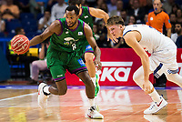 Real Madrid's player Luka Doncic and Unicaja Malaga's player Kyle Fogg during match of Liga Endesa at Barclaycard Center in Madrid. September 30, Spain. 2016. (ALTERPHOTOS/BorjaB.Hojas)