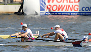 Poznan, POLAND, USA M2+ bow Troy KEPPER, Henrik RUMMEL and cox Marcus McELHENNEY approach the finishing line in the coxed pair at the 2009 FISA World Rowing Championships. held on the Malta Rowing lake, Sunday  30/08/2009  [Mandatory Credit. Peter Spurrier/Intersport Images]