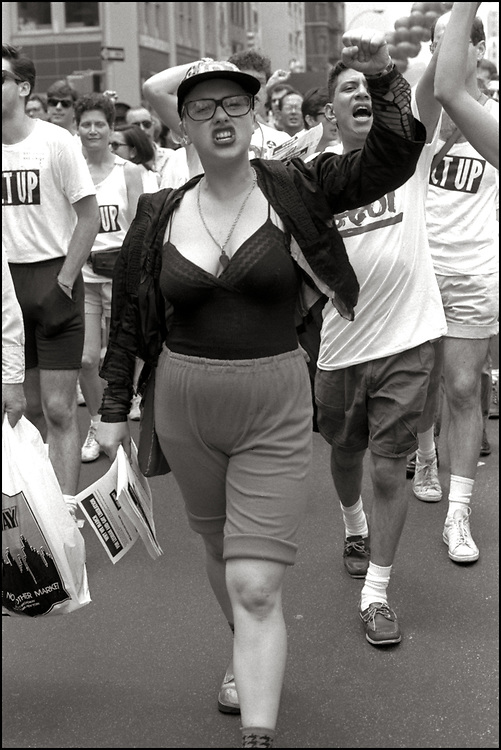"""Garance R Franke-Ruta and others on June 24, 1989, the 20th anniversary of the Stonewall riots, participating in a renegade march up 6th avenue to Central Park. Themed, """"In The Tradition"""", this march followed the same route as the original march 20 years ago and was designed as a rebuke to the corporatization of the gay pride parade."""