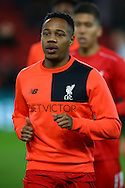 Nathaniel Clyne of Liverpool warming up prior to kick off. Premier League match, Liverpool v West Ham Utd at the Anfield stadium in Liverpool, Merseyside on Sunday 11th December 2016.<br /> pic by Chris Stading, Andrew Orchard sports photography.