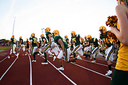BFA St. Albans runs onto the field during the football game between the Mount Mansfield Cougars and the BFA St. Albans Bobwhites at BFA High School on Friday night September 7, 2018 in St. Albans. (BRIAN JENKINS/for the FRESS PRESS)
