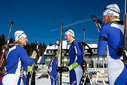 Tadeja Brankovic Likozar, Jakov Fak and Klemen Bauer at practice session during Media day of Slovenian biathlon team on November 12, 2010 at Rudno polje, Pokljuka, Slovenia. (Photo By Vid Ponikvar / Sportida.com)