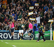 South Africa's Bryan Habana scoring a hat trick of tries and drawing him level with Jonah Lomu's record during the Rugby World Cup Pool B match between South Africa and USA at the Queen Elizabeth II Olympic Park, London, United Kingdom on 7 October 2015. Photo by Matthew Redman.