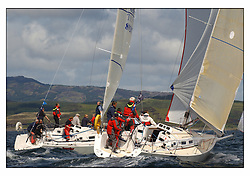 The third days racing at the Bell Lawrie Yachting Series in Tarbert Loch Fyne ..Perfect conditions finally arrived for competitors on the three race courses...J109's GBR8920T Jeronimo and GBR4709R Jaru.