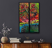 """'ASHLAND in AUTUMN' . 25"""" x 36"""" . Acrylic and Inks on Board within custom frame.<br /> <br /> Artist Notes: <br /> 'Ashland in Autumn' was inspired from a walk on a crisp Autumn day in Lithia park in Ashland Oregon, one of which will forever be etched in my mind - one of the most beautiful places I've ever been. The reflections of the Japanese gardens, or what I perceived as Japanese gardens, was breathtaking. These are my memories, in abstract.<br /> <br /> Numerous acrylic washes and countless, subtle layered glazes create the luminous effects of the glowing gardens.<br /> <br /> A unique, one of a kind piece that could never be duplicated, especially when you consider the custom frame which IS an integral part of the artwork.<br /> <br /> This piece is comprised of two panels, (1/2"""" deep, 18.5 x 28.5), that I've mounted (raised significantly for effect) within a custom frame (photos included). Of course the artwork can be removed and mounted as a buyer may wish but I find the effect dramatic and showcases the art well. I've added a distinctive green inner wooden accent liner within the frame.<br /> <br /> One of my favorite pieces - has an Asian flair to it. Peaceful gardens appeared in the background."""