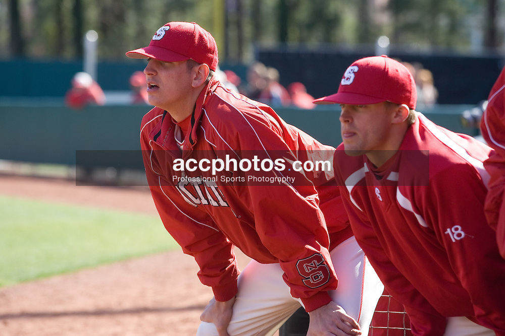 18 March 2007: North Carolina State Wolfpack pitcher Eric Surkamp (43) and outfielder Wade Moore (18) during a 4-6 loss to Virginia Tech at Doak Field in Raleigh, NC.