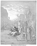 Moses Striking the Rock in Horeb Exodus 17:6 From the book 'Bible Gallery' Illustrated by Gustave Dore with Memoir of Dore and Descriptive Letter-press by Talbot W. Chambers D.D. Published by Cassell & Company Limited in London and simultaneously by Mame in Tours, France in 1866