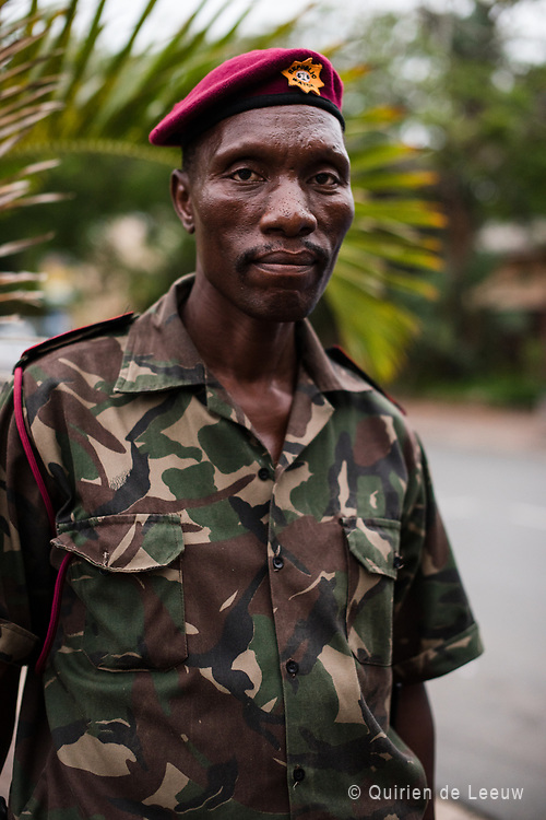 Portrait of a military guard in st Lucia, a small town in KwaZulu Natal province, South Africa