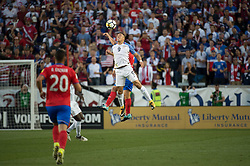 September 1, 2017 - Harrison, New Jersey, U.S - USMNT forward BOBBY WOOD (9) heads the ball over a Costa Rican defender while Costa Rica midfielder DAVID GUZMçN (20) looks on during a World Cup qualifier match at Red Bull arena in Harrison, NJ.  Costa Rica defeats USA 2 to 0. (Credit Image: © Mark Smith via ZUMA Wire)