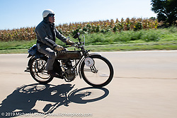 Chris Tribbey rode his 1911 Excelsior model-K single cylinder class-1 bike in the Motorcycle Cannonball coast to coast vintage run. Stage 6 (260 miles) from Bourbonnais, IL to Cedar Rapids, IA. Thursday September 13, 2018. Photography ©2018 Michael Lichter.