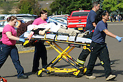 Oct 1, 2015 - Roseburg, Oregon, U.S. - <br /> <br /> Authorities carry a shooting victim away from the scene after a gunman opened fire at Umpqua Community College. As many as 10 people were killed and 20 injured when a shooter opened fire at Oregon's Umpqua Community College on Thursday. <br /> ©Exclusivepix Media