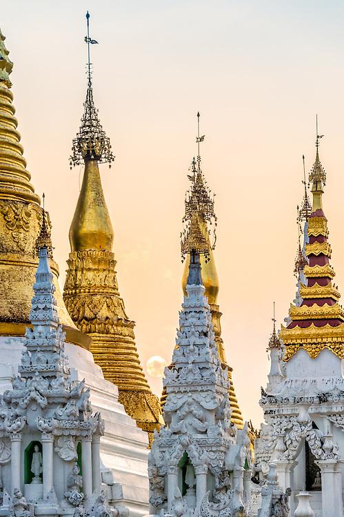 YANGON, MYANMAR - CIRCA DECEMBER 2013: Architectural detail of the Shwedagon Pagoda in Yangon