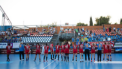 Players of Krim celebrate during handball match between RK Zagorje and RK Krim Mercator of Super Cup 2016, on August 27, 2016 in SRC Marina, Portoroz / Portorose, Slovenia. Photo by Matic Klansek Velej / Sportida