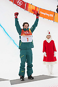 Scotty James, Australia, BRONZE, during the flower ceremony of the Pyeongchang Winter Olympic mens snowboard halfpipe finals on 14th February 2018 at Phoenix Snow Park in South Korea