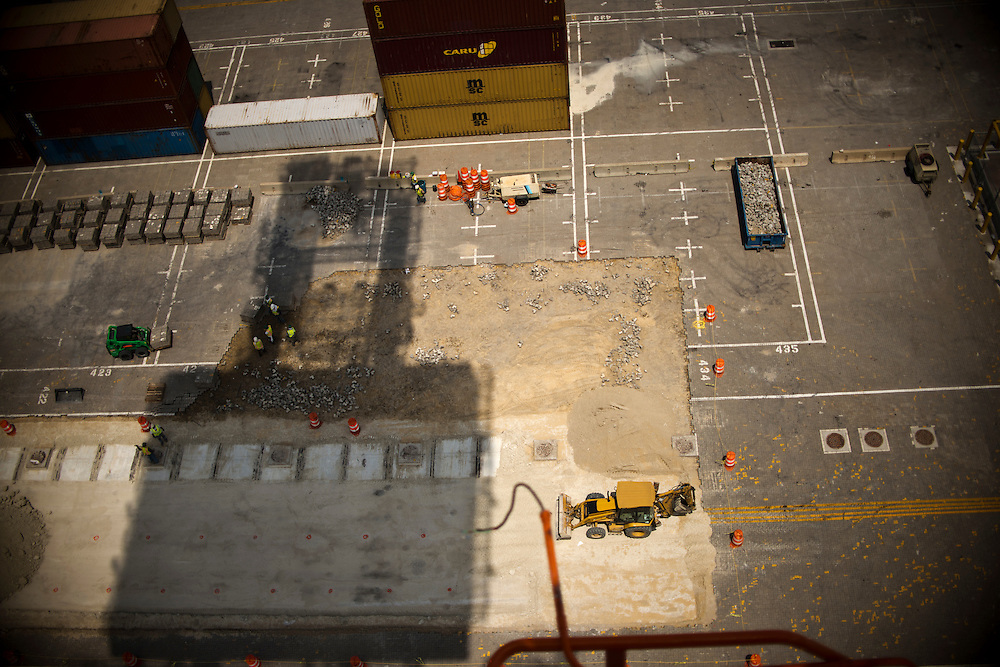 (photo by Matt Roth).Wednesday, July 11, 2012.Assignment ID: 30128574A..Four super-post Panamax cranes -- the largest model built -- are being erected at The Port of Baltimore's Seagirt Marine Terminal Wednesday, July 11, 2012. Once it's finished, the Seagirt terminal will join a port in Norfolk, VA as the only two ports on the East Coast which can unload new Panamax sized container ships.