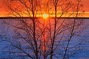 Sunset on Waskaseiu Lake in winter