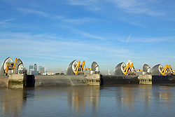 © Licensed to London News Pictures. 06/10/2013. The Thames Barrier is having its annual closure. The maintenance closure of the capital's flood defence system is being conducted by the Environment Agency. Spectators gathered to watch the iconic structure, known as the 8th wonder of the world close on a gloriously sunny Autum day. Credit : Rob Powell/LNP