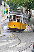 Old tram. Tram tracks. At Miradouro de Santa Luzia. Street view. Alfama district. Lisbon, Portugal