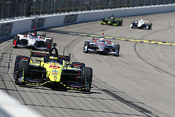 July 8, 2018 - Newton, Iowa, United States of America - SEBASTIEN BOURDAIS (18) of France battles for position during the Iowa Corn 300 at Iowa Speedway in Newton, Iowa. (Credit Image: © Justin R. Noe Asp Inc/ASP via ZUMA Wire)