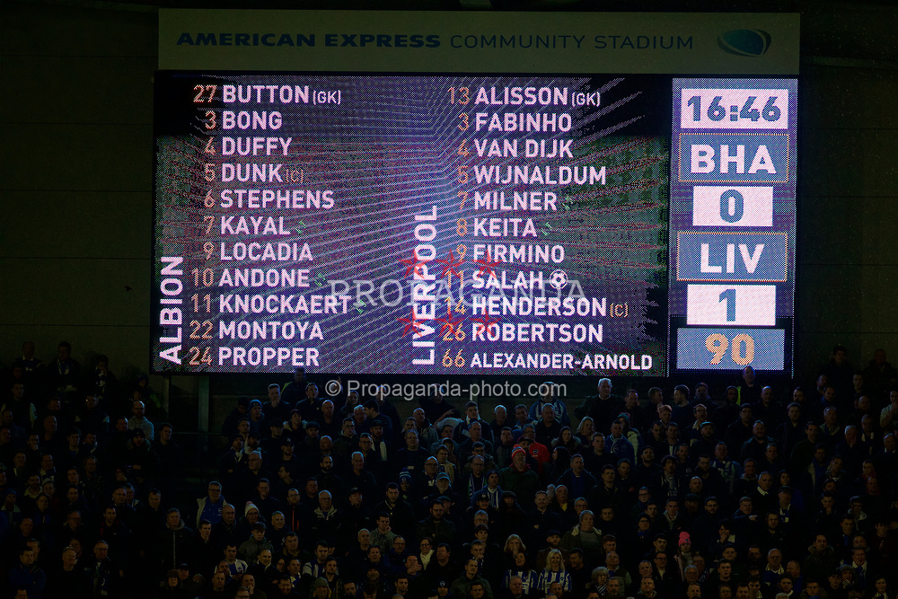 BRIGHTON AND HOVE, ENGLAND - Saturday, January 12, 2019: Brighton's scoreboard records the 1-0 victory for Liverpool after the FA Premier League match between Brighton & Hove Albion FC and Liverpool FC at the American Express Community Stadium. (Pic by David Rawcliffe/Propaganda)
